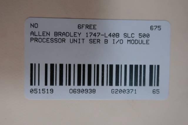 ALLEN BRADLEY 1747-L40B SLC 500 PROCESSOR UNIT I/O MODULE SER B