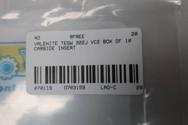BOX OF 10 VALENITE TEGW 322J VC2 CARBIDE INSERT