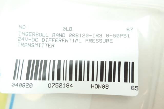 INGERSOLL RAND 206120-IR3 PRESSURE TRANSMITTER 0-50PSI 24V-DC