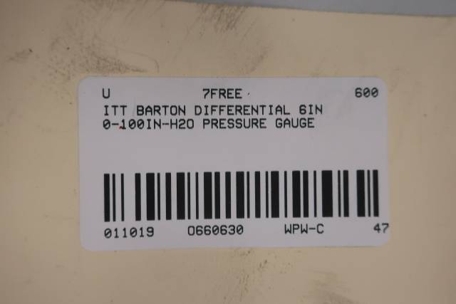 ITT BARTON DIFFERENTIAL 6IN 0-100IN-H2O PRESSURE GAUGE D660630