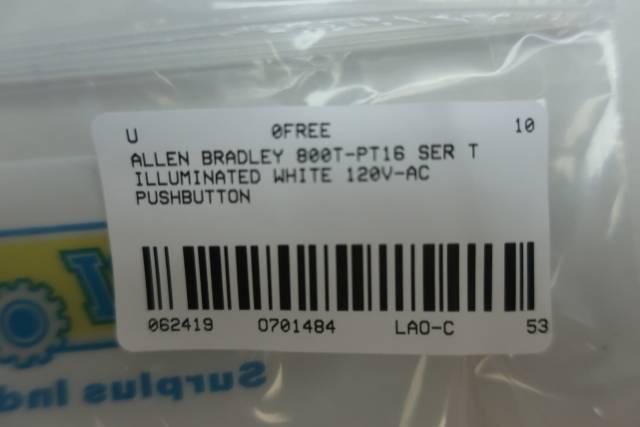 ALLEN BRADLEY 800T-PT16 ILLUMINATED WHITE PUSHBUTTON 120V-AC SER T