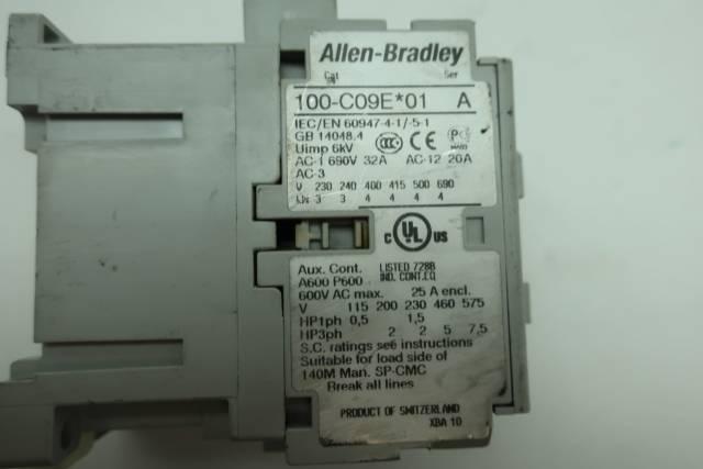 ALLEN BRADLEY 100-C09EJ01 DC CONTACTOR 24V-DC 25A AMP SER A D641140