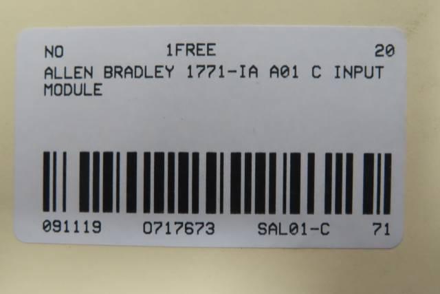 ALLEN BRADLEY 1771-IA INPUT MODULE REV B02 SER C