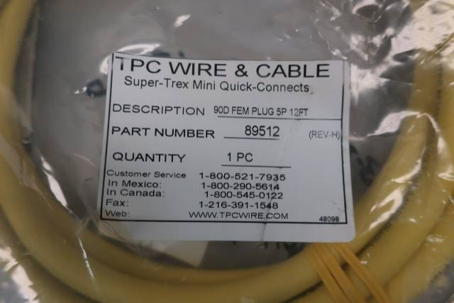 TPC WIRE 89512 SUPER-TREX ULTRA-GARD 5P 12FT RIGHT ANGLE CONNECTOR CABLE REV H