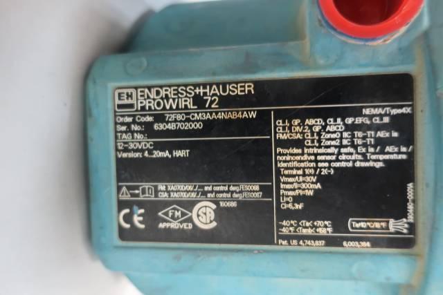 ENDRESS HAUSER 72F80-CM3AA4NAB4AW PROWIRL 72 VORTEX FLOW METER 3IN D625660