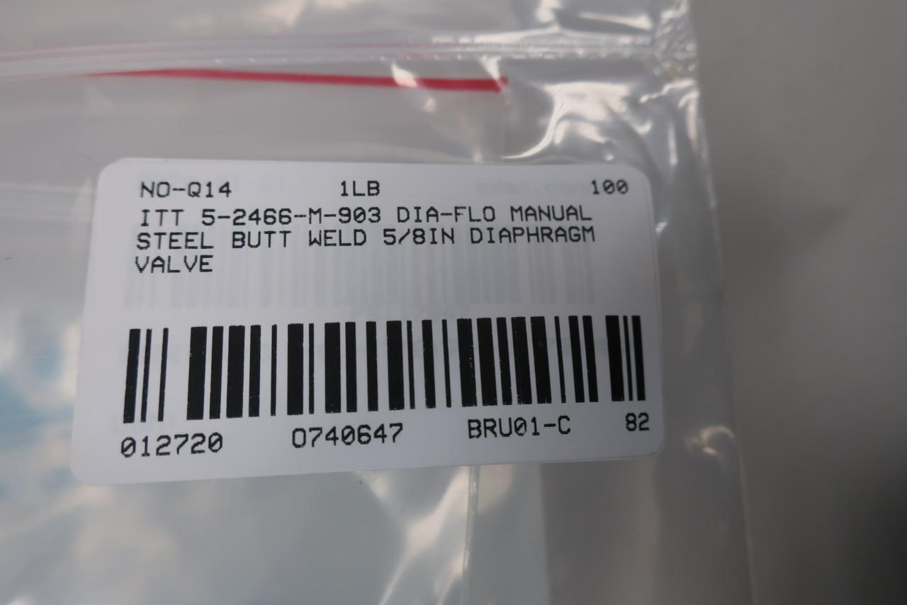 ITT 5-2466-M-903-SQD1-SQD2-SP88CATB Dia-FLO Stainless Diaphragm Valve 1//2IN