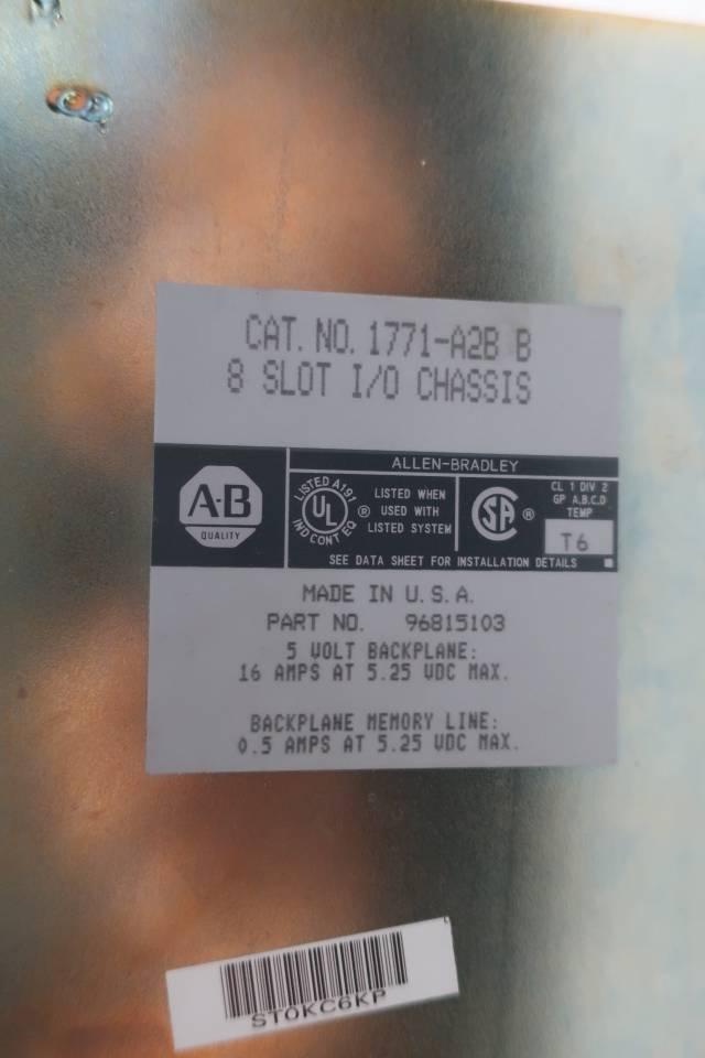 ALLEN BRADLEY 1771-A2B 8 SLOT I/O CHASSIS MODULE SER B