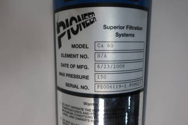 PIONEER CA 60 WATER PURIFICATION COMPRESSED FILTRATION TANK D651707