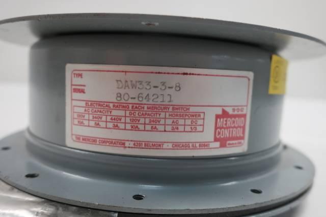 MERCOID DAW33-3-8 PRESSURE SWITCH 1/4IN 10-200PSI 440V-AC