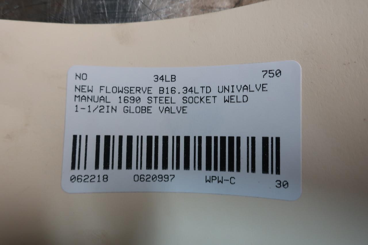 FLOWSERVE B16.34LTD Univalve Socket Weld Globe Valve 1690 1-1//2IN D620997