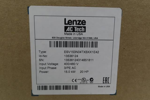 LENZE ESV153N04TXBXX1E42 AC TECH AC VFD DRIVE 400/480V-AC 20HP