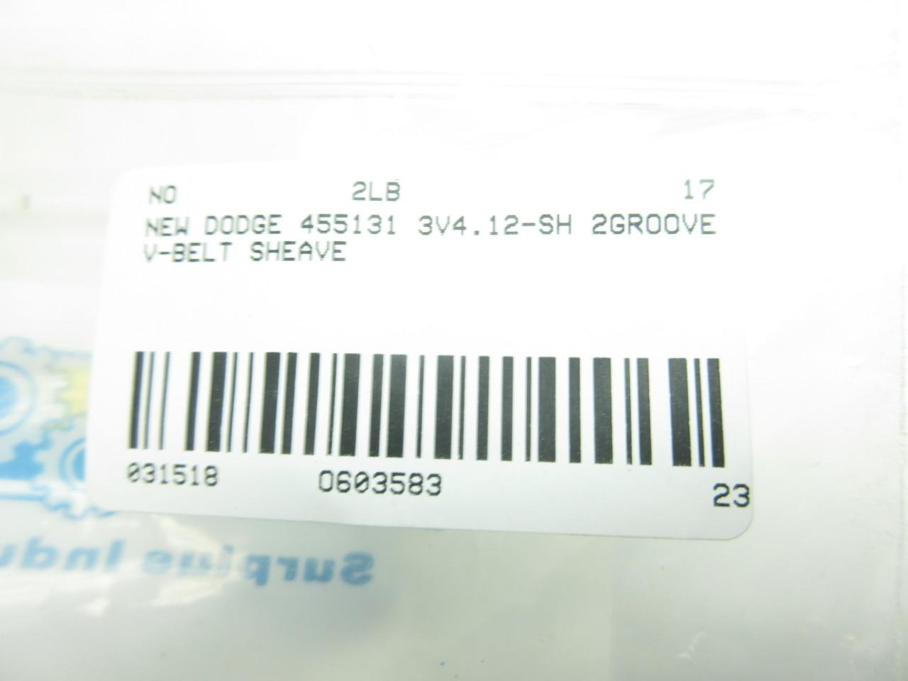Dodge 455131 2//3V4.12-SH 2groove V-belt Sheave