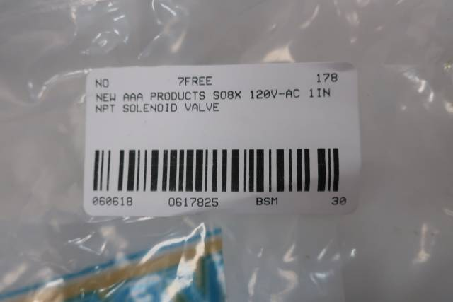 AAA PRODUCTS SO8X SOLENOID VALVE 120V-AC 1IN NPT D617825