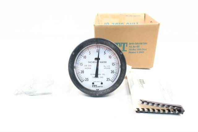 ITT 227A BARTON DIFFERENTIAL PRESSURE INDICATOR 25-0-25IN-H2O 6IN D614151