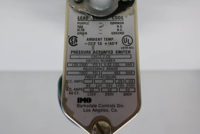 IMO BARKSDALE C9612-2-CS PRESSURE SWITCH 1/4IN 125-1500PSI