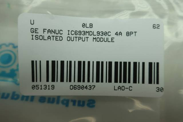 GE FANUC IC693MDL930C 4A 8PT ISOLATED OUTPUT MODULE