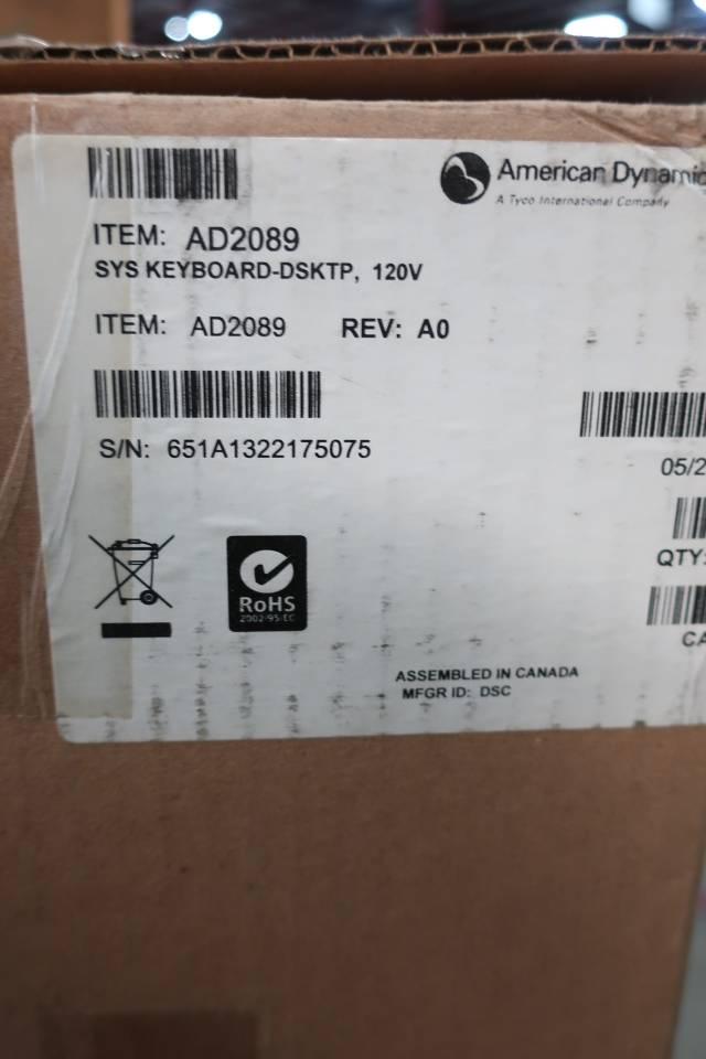 AMERICAN DYNAMICS AD2089 SYSTEM MATRIX KEYBOARD 120V-AC REV A0