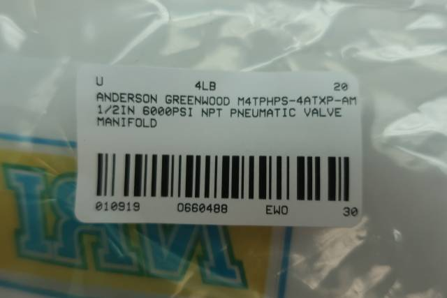 ANDERSON GREENWOOD M4TPHPS-4ATXP-AM INSTRUMENT MANIFOLD 6000PSI D660488