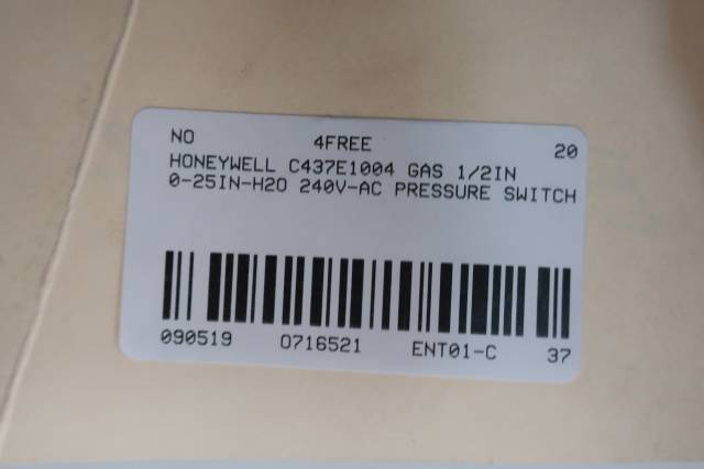 HONEYWELL C437E1004 GAS PRESSURE SWITCH 1/2IN 0-25IN-H2O 240V-AC