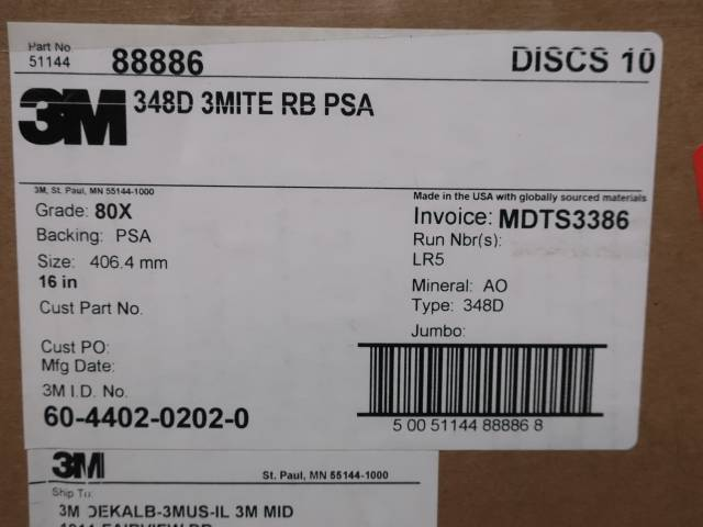 BOX OF 10 3M 88886 348D 3MITE RB PSA 16IN 80X COATED SANDING DISC