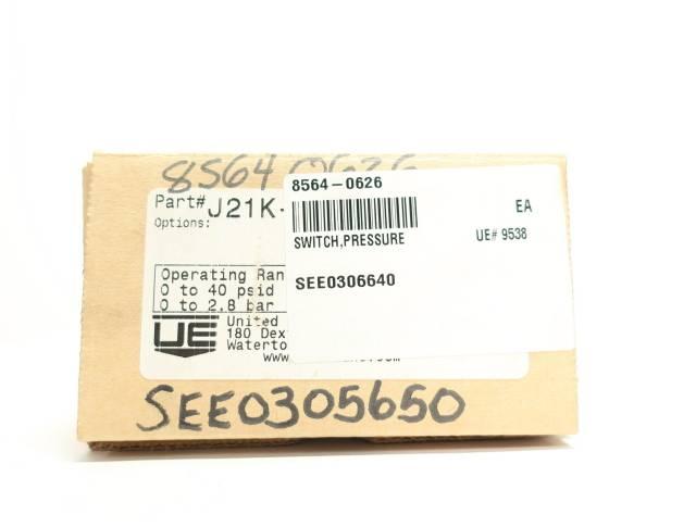 UE UNITED ELECTRIC J21K-150 DIFFERENTIAL 0-40PSI 480V-AC PRESSURE SWITCH R688669