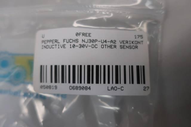 PEPPERL FUCHS NJ30P-U4-A2 VERIKONT INDUCTIVE SENSOR 10-30V-DC