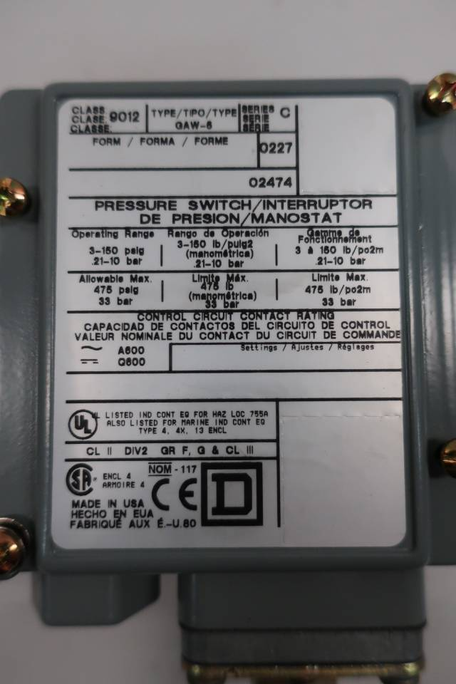 SQUARE D 9012 GAW-5 PRESSURE SWITCH 1/4IN 3-150PSI