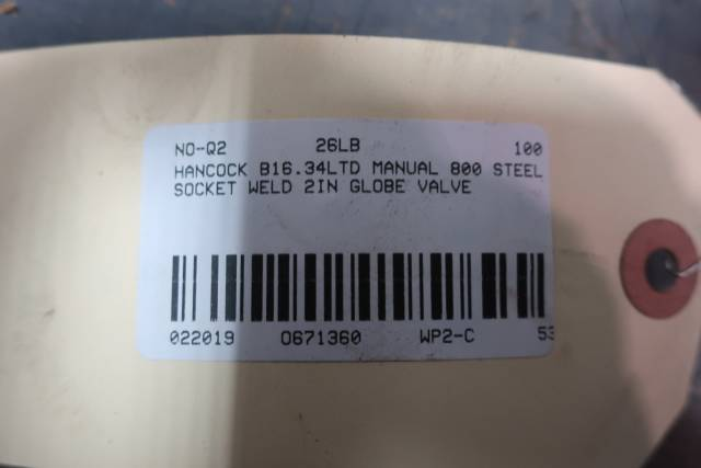 HANCOCK 5520W2 STEEL SOCKET WELD GLOBE VALVE 800 2IN