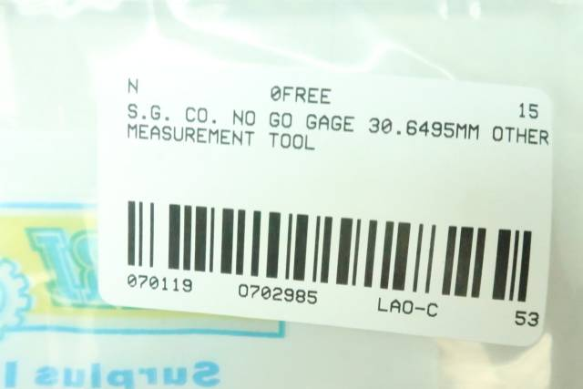 S.G. CO. NO GO CALIBRATION RING 30.6495MM