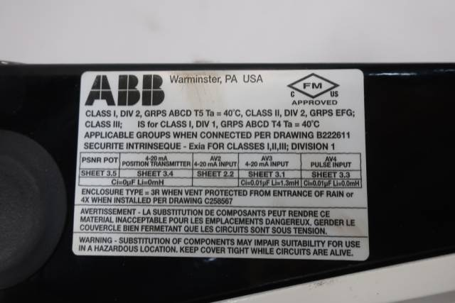 ABB AV2311000 I/P 150PSI 4-20MA 30V-DC PNEUMATIC VALVE POSITIONER D648565