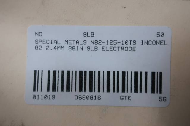 SPECIAL METALS N82-125-10TS INCONEL 82 1/8IN 36IN 10LB ELECTRODE D660816