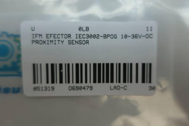 IFM EFECTOR IEC3002-BPOG PROXIMITY SENSOR 10-36V-DC