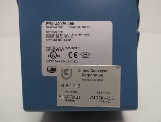 UE UNITED ELECTRIC J402K-455 5-80IN-H2O 480V-AC PRESSURE SWITCH