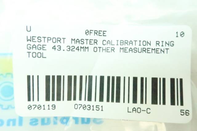 WESTPORT MASTER CALIBRATION RING GAGE 43.324MM