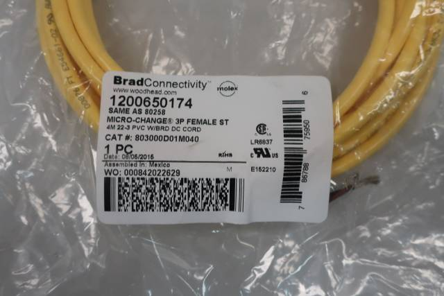 WOODHEAD 1200650174 MICRO-CHANGE FEMALE ST CONNECTOR CABLE 3P 4M