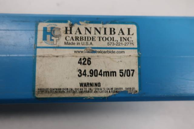 HANNIBAL CARBIDE 426 STRAIGHT 8 FLUTE 34.904MM REAMER