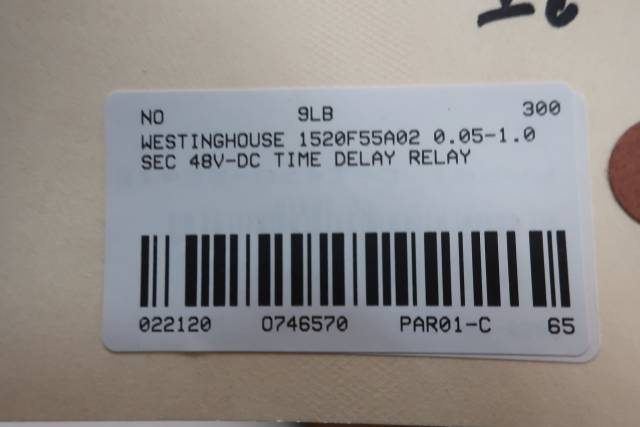 WESTINGHOUSE 1520F55A02 TIME DELAY RELAY 0.05-1.0 SEC 48/125V-DC