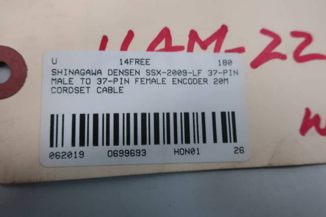 SHINAGAWA DENSEN SSX-2009-LF 37-PIN MALE TO 37-PIN FEMALE ENCODER 20M
