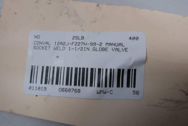 CONVAL 12A2J-F227H-99-2 2155 STAINLESS SOCKET WELD 1-1/2IN GLOBE VALVE D660768