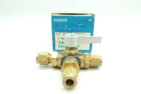 GOULD 343-B IMPERIAL EASTMAN 3-WAY TUBE MANUAL BRASS 3/8IN BALL VALVE