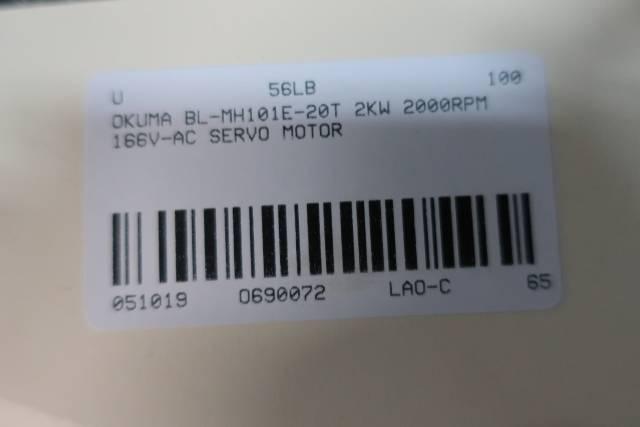 OKUMA BL-MH101E-20T SERVO MOTOR 2KW 2000RPM 166V-AC